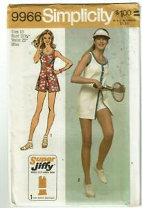 Simplicity #9966 VTG Super Jiffy Tennis Dress & Shorts Pattern Sz 10 UC