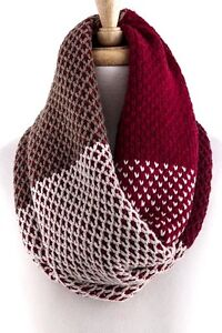 Soft Knit Colorblock Textured Burgundy Red Beige Infinity Scarf B12