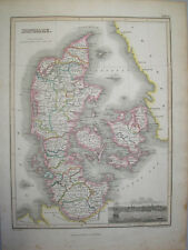 1819 MAP OF DENMARK BY JAMES WYLD & ENGRAVED BY HEWITT   ORIGINAL HAND COLOURED