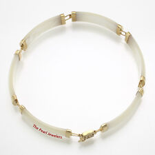 "White Mother of Pearl Bracelet 14k Yellow Gold with ""Joy"" Clasp 8.8 Grams TPJ"