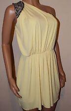 VICKY MARTIN yellow lemon one shoulder grecian sequin bead mini dress 8 10 BNWT