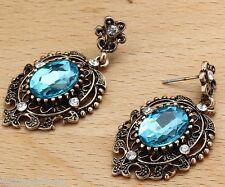 Woman's Cyan Crystal Rhinestone Silver Plated  Long Ear Stud Hoop earrings 204