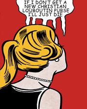 Lichtenstein Style Christian Louboutins Purse Pop Art Canvas 16 x 20  #2701