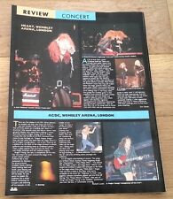 HEART / AC/DC concert reviews 1988 UK ARTICLE / clipping