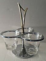 Kromex Condiment Server Lazy Susan Gold Glass Chrome Mid Century Nuts Dips Gift
