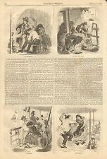Sandy Hook NJ. A Trip To The Fishing Banks 2pgs. w/text, Vintage 1858 Antq Print
