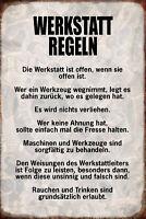 Werkstatt Regeln Blechschild Schild gewölbt Metal Tin Sign 20 x 30 cm R0912