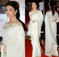 UK- Stunning Indian Designer Bollywood Aishwarya Rai White partywear Saree Sari