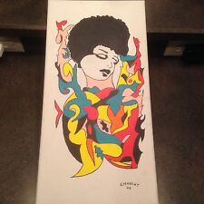 2009 Artist Signed Miklos Emhecht Painting Woman Afro Acrylic on Canvas