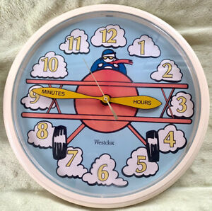 """Vintage Westclox Flying Ace Battery Operated 10"""" Wall Clock Model 46658 Airplane"""