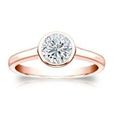 Classy 0.30 Cts F/VS1 GIA Certified Natural Diamond Bezel Set Ring In 14K Gold