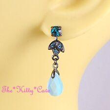 Vintage Deco Blue Cats Eyes Chandelier Drop Earrings W/ Teal Swarovski Crystals