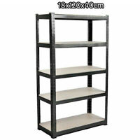 Heavy Duty Storage Racking 5 Tier Shelving Boltless Shelf Black UKDC