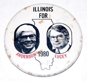 1980 JOHN ANDERSON PATRICK LUCEY campaign pin pinback button political president