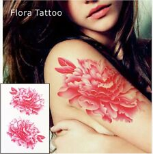 PINK FLOWER TATTOO FLORAL TEMPORARY TATTOO PINK FLORAL TATTOO CHINESE FLOWERS