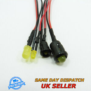 12V DC Super Bright Light 3mm / 5mm Diffused LED 20cm Pre-Wired Cable Diode