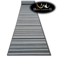THICK Runner Rugs SKY grey LINES modern NON-slip Width 67 - 80 cm extra long