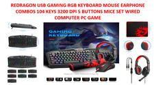 REDRAGON USB GAMING RGB KEYBOARD MOUSE EARPHONE COMBOS 104 KEYS 3200