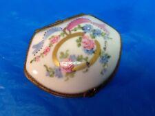 LIMOGES FRANCE porcelain box ANTIQUE VINTAGE hand painted FLORAL MOTIF