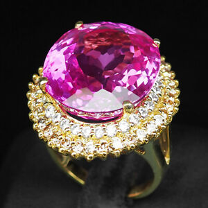 TOPAZ PLATINUM PINK OVAL 33.30 CT.SAPPHIRE 925 STERLING SILVER GOLD RING SZ 6.75