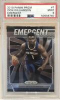 2019 Panini Prizm Emergent Zion Williamson Rookie Card RC #7 PSA 9 MINT Pelicans