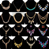 Gold Silver Plated Rhinestone Crystal Choker Chain Statement Pendant Necklace