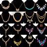 Fashion Women Rhinestone Crystal Choker Bib Statement Pendant Necklace Chain Set