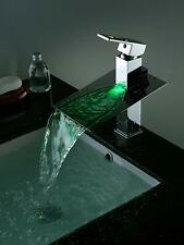 Cascada Color Changing LED Waterfall Bathroom Sink Faucet - HDD723 - Chrome