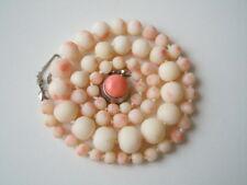Alte kurze Weiße Engelshaut Natur Korallen Kugel Kette 20,2g/40,5 cm/Ø0,4-0,9 cm