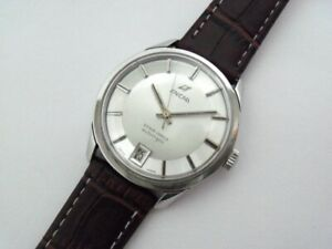 """RARE VINTAGE ENICAR ULTRASONIC """"PIE-PAN"""" DATE SS AUTOMATIC WATCH Ca.1960's."""