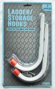 2pc Heavy Duty Wall Mounted Brackets Storage Hooks Garage Shed Ladder DIY White