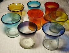 "Hand Blown Bubble Glass Appx 4.25"" Tumbler Clear w Color Rims Your Choice Color"