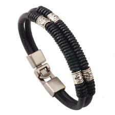 Woman Zinc Alloy Bracelet Cowhide with Waxed Cotton Cord 6.5inch 17cm