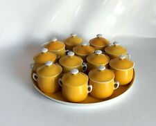 Rare French Antique Limoges Porcelain 12 Cream Pots on Tray Service – 1920s