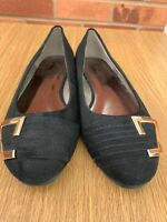 Lorraine Kelly Jd Williams Wide Flats Gold Size 4 E Black Slip On Dolly Shoes