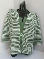 PER UNA MARKS & SPENCER WOMENS GREEN STRIPED KNITTED CARDIGAN TOP XL X LARGE NEW