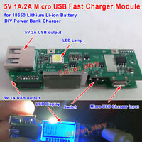 5V 1A/2A LCD USB 18650 Lithium Li-ion Battery Fast Charger Module DIY Power Bank