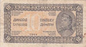 10 DINARA VG BANKNOTE FROM YUGOSLAVIAN PARTISAN ARMY 1944 PICK-50