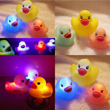 4 PCS Cute Yellow Color Changing Duck Flashing LED Lamp Light Baby Kids Bath Toy