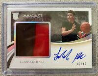 LaMelo Ball 2020 Immaculate Collegiate RPA Rookie Patch Auto RC 42/49 Hornets