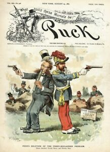 FERRY BOULANGER PROBLEM PISTOL DUEL LOOK OUT FOR BULLETS VINTAGE 1887 LITHOGRAPH