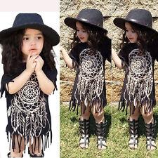 UK Toddler Kids Baby Girls Tassels Holiday Party Dress Vest Sundress Clothes
