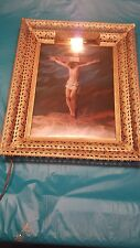Jesus Christ Vintage Print Cross Crucifixion Lighted Picture  Metal Frame.