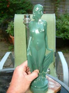 ART DECO 1930s LEONARDI PLASTER FIGURE ATHENE PANEL TABLE LAMP NEEDS RESTORATION