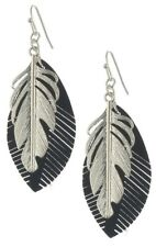 NEW FAUX BLACK SUEDE FEATHER AND SILVER FEATHER EARRINGS