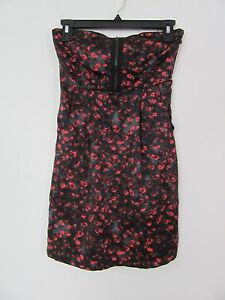 Silence + Noise Black Red Floral Pockets Strapless Dress Size XS