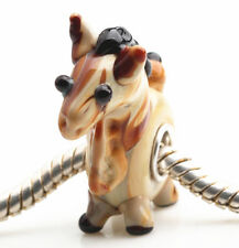 1pcs SILVER MURANO GLASS BEAD LAMPWORK Animal Fit European Charm Bracelet DW275