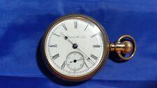 1903 Antique Hampden 17j 18s Open Face Pocket Watch G.F. Case