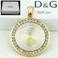 DG Men's 35mm Gold Stainless Steel Iced Out CZ ANGEL Pendant + Box