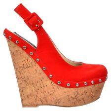 Womens Wedge Sling Back Cork Studded Heel Platform Shoes Nude Beige Red Black